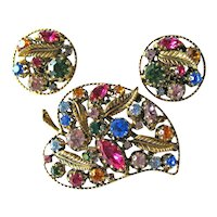 Rhinestone Austria Demi Parure - Leaf Shaped Rhinestone Pin - Clip Earrings - Many Colored Stones - Gold-tone Leaf Findings
