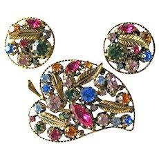 Rhinestone Austria Demi Parure - Leaf Shaped Rhinestone Pin - Clip Earrings - Many Colored Stones - Gold-tone Leaf Findings