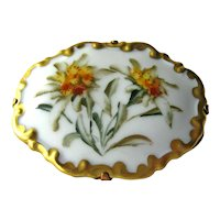 Rosenthal Germany Hand Painted Porcelain Pin - Gold Gilt Edge - Yellow Flowers