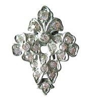 JPetite Pot Metal Rhinestone Dress Clip - Clear Rhinestones