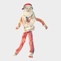 Chenille Santa Figurine - Santa Ornament - Vintage Santa