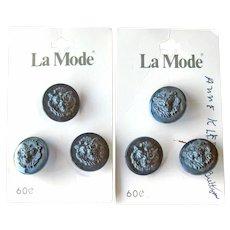 Anne Klein Black Buttons - Lion's Head Buttons  - Designer Buttons - La Mode Buttons