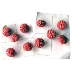 Red Glass Buttons with Gold Decoration - Vintage Buttons