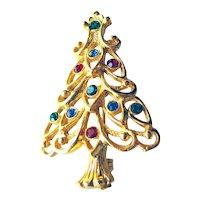 Eisenberg Ice Christmas Tree Pin - Holiday Jewelry - Costume Jewellery