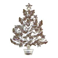 Eisenberg Ice Christmas Tree Pin - Silver-tone Pin - Holiday Jewelry