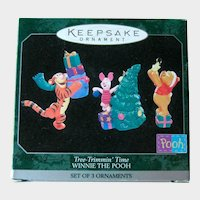 Winnie the Pooh Hallmark Miniature Ornaments - Tree-Trimmin' Time - Tigger Piglet and Pooh
