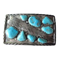Zuni Sterling and Turquoise Belt Buckle - Buckle by Marvelyne Cheama - Native American