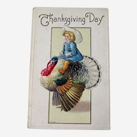 Thanksgiving Postcard Boy on Turkey - Vintage Thanksgiving - Collectible Postcard