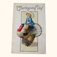 Thanksgiving Postcard Boy on Turkey - Vintage Thanksgiving - Collectible Postcard