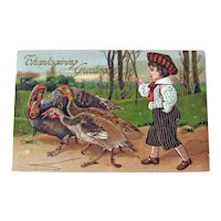 Vintage Thanksgiving Postcard - Boy Herding Turkeys - Collectible Postcard