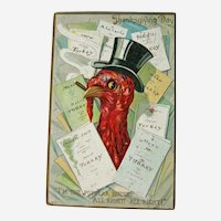 Vintage Tuck Thanksgiving Postcard - Turkey in Top Hat - Turkey Menu