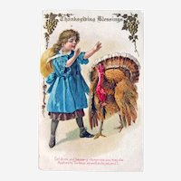 Vintage Thanksgiving Postcard - Girl in Blue Dress Preaching to Turkey