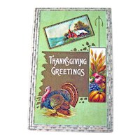 Vintage Thanksgiving Postcard - Turkey and Country Scene - Fall Fruit