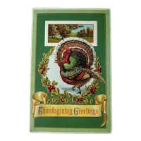 Vintage Winsch  Thanksgiving Postcard - Turkeys and Wreath  - Country Scene