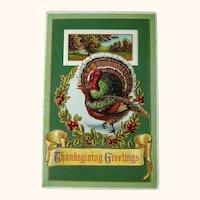 Vintage Winsch  Thanksgiving Postcard - Turkeys and Wreath  - Country Scene