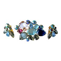 Multicolored  Rhinestone Demi Parure - Mid Century Costume Jewelry -  Bold and Beautiful Pin and Earrings