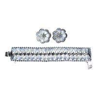 Stunning Moonstone Demi Parure - Blue Rhinestone Set - Runway Jewelry