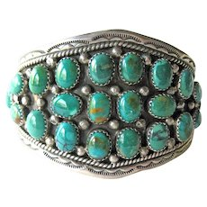 Navajo Sterling and Turquoise Bracelet - Native American V James Designer and Creator