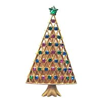 Elegant Christmas Tree Pin - Colorful Christmas Tree - Collectible Holiday Jewelry