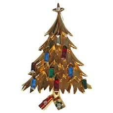 Vintage Christmas Tree Pin - Packages Under Tree - Candle Tree Pin
