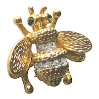 Vintage Little Bumble Bee Pin - Sweet Bee with Rhinestone Accents