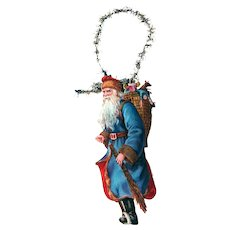 Victorian Die-cut Santa Gold-tone Tinsel Ornament / Vintage Tinsel Ornament / Victorian Christmas