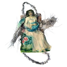 Victorian Die-cut Angel Ornament with Tinsel / Victorian Angel / Christmas Angel / Christmas Decoration