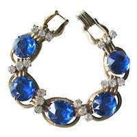 Vintage Juliana Bracelet with Large Royal Blue Stones - Juliana Five Link Bracelet