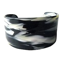 Lucite Cuff Bracelet - Black and White Swirl Lucite Bracelet