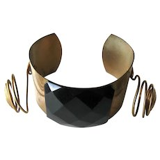 1980s Memphis Style Brass Bracelet Large Black Stone