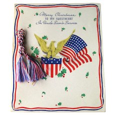 Vintage Sweetheart Greeting Card - In Uncle Sam's Service - Gibson Greeting Card