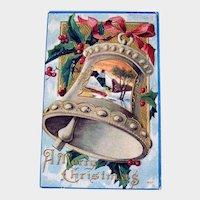 Vintage Christmas Bell Postcard - Country Scene Card - A Merry Christmas Postcard