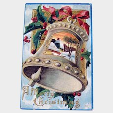 Vintage Christmas Bell Postcard - Country Scene Card - A Merry Christmas Postcard