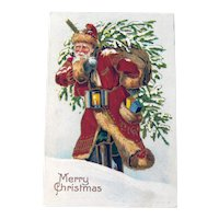 Vintage Santa Postcard - Santa Carrying Tree and Sack