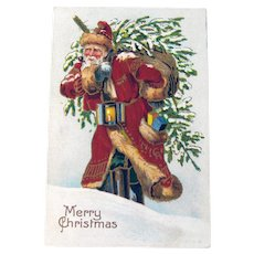 Vintage Santa Postcard - Santa Carrying Tree and Sack