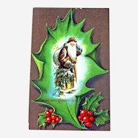 Vintage Christmas Postcard - Brown Robe Santa - Santa Carrying Tree
