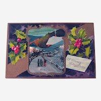 Vintage Christmas Postcard - Country Scene - People Visiting