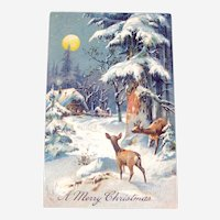 Vintage Christmas Postcard - Pastoral Scene with Deer - Collectible Postcard