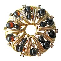 Crown Trifari Pin Amber Cabochons - Round Trifari Brooch - Designer Signed Costume Jewelry