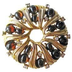 Crown Trifari Pin Amber Cabochons - Round Trifari Brooch - Designer Signed Costume Jewelry