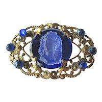 Glass Cameo Sash Pin Brass Setting - Cobalt Stones - Vintage Cameo Brooch