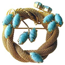 Hobe Pin Mesh and Simulated Turquoise Stones on Stems - Designer Signed Hobe Brooch