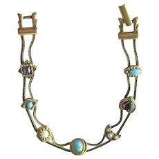 Vintage Goldette Bracelet / Chain Bracelet / Seven Charms / Designer Jewelry / Collectible Jewellery