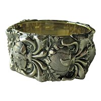 Whiting & Davis Wide Repousse Bangle Bracelet - Original Whiting & Davis Tag - Gold-tone Brcelet