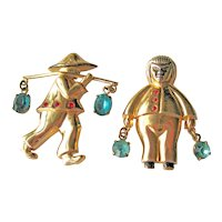 Vintage Coro Pegasus Chinese Water Carrier Pins - Pair of Coro Pins - Signed Costume Jewelry