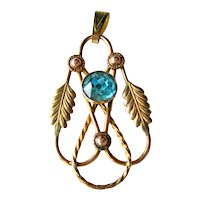 Vintage Van Dell Gold Filled Pendant - 10 K Gold-filled on Sterling - Vermeil - Aquamarine Crystal Stone
