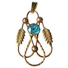 Vintage Van Dell Gold Filled Pendant - 10 K Gold-filled on Sterling - Vermeil - Aquamarine Crystal Stone