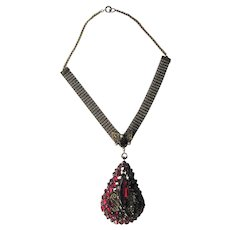 Breathtaking Necklace with Huge Teardrop Pendant - Red Rhinestone Pendant Necklace