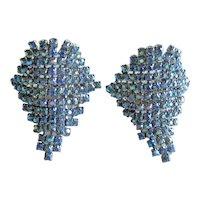 Musi Shoe Clips - Blue Aurora Borealis Rhinestone Shoe Clips - Large Shoe Clips