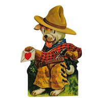 Vintage Louis Katz Mechanical Valentine - Cowboy Dog Valentine - 1920 Valentine Card